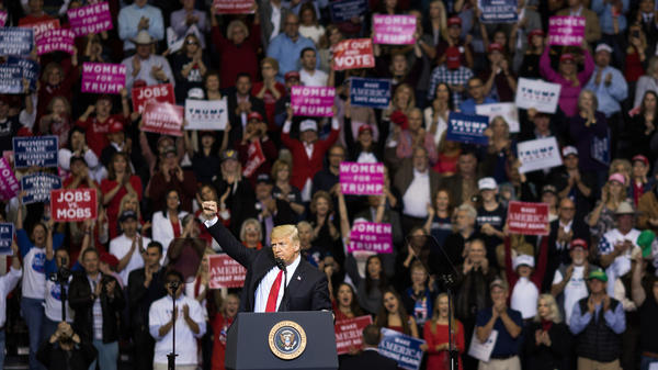 "President Trump addresses the crowd during a rally in Houston in support of Texas Sen. Ted Cruz on Oct. 22,. During the rally, he described himself as a ""nationalist,"" and encouraged his supporters to use the word."