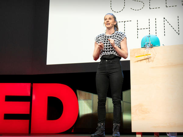 Simone Giertz on the TED stage.