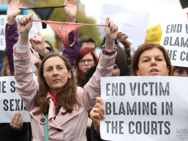 Protesters gathered Wednesday in Dublin to denounce the Irish legal system's treatment of women who said they had been sexually assaulted.