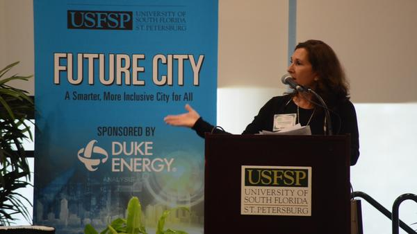 "Florida Matters host Robin Sussingham moderated the mayors' panel titled ""Perspectives from the Eye of the Storm"" at USF St. Petersburg on Oct. 30."