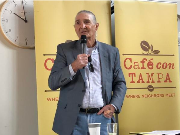 Joe Redner talks at Cafe con Tampa about his position on medical marijuana earlier this year.