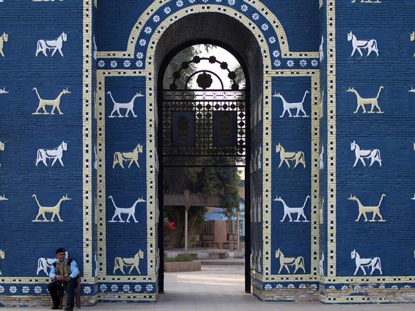 A reconstruction of the Ishtar Gate at the archaeological site of Babylon, pictured in 2015.