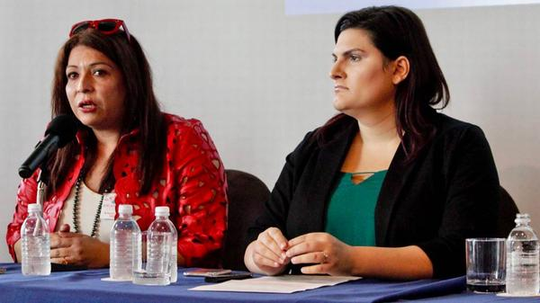 Arianna Lint, left, is the executive director of a namesake organization that aids transgender people. She and Sophia Kass, an advocate with the Transgender Law Center, joined her on a panel in South Beach to discuss the Human Rights Watch report.