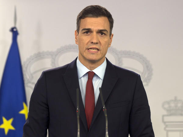 Spanish Prime Minister Pedro Sanchez delivers a speech Saturday. Sanchez and British leaders agreed that Spain would be involved in future decisions involving Gibraltar.