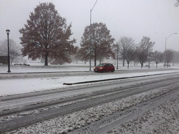 Few drivers were out Sunday as snow and high winds moved through Kansas City. The forecast called for winds up to 55 mph and up to 6 inches of snow.