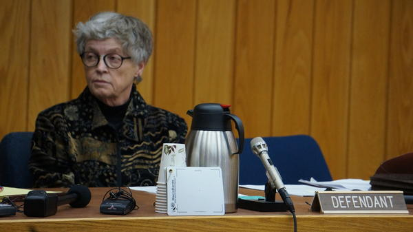 Former Michigan State University President Lou Anna Simon at Eaton County Court Monday.
