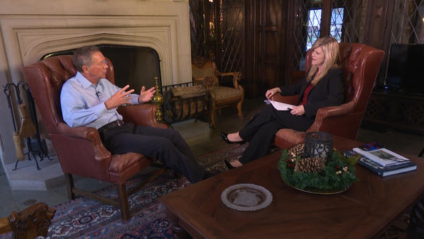 Gov. John Kasich talked with Karen Kasler at the Governor's Residence on Monday.