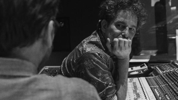 Argentine rocker Andrés Calamaro in the studio recording his latest album, <em>Cargar La Suerte.</em>