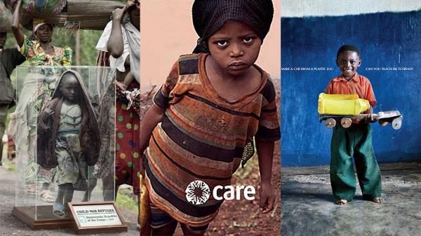 Triptych of charity advertisements from (L-R) Save the Children, CARE, and Dubai Cares.
