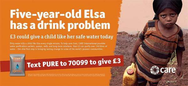 A fundraising ad from the global charity CARE International U.K.