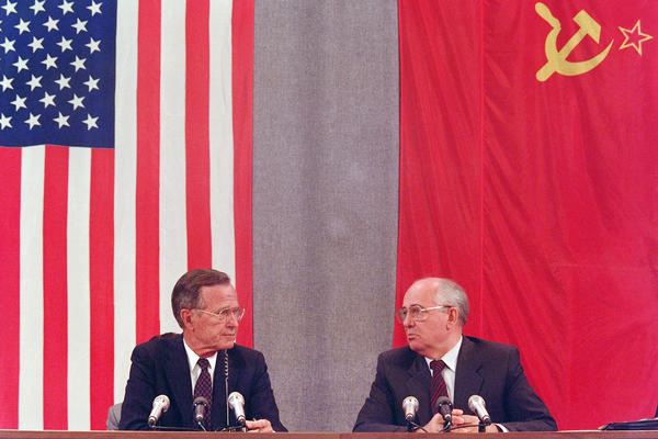 Bush and his Soviet counterpart, Mikhail Gorbachev, hold a July 1991 news conference in Moscow to announce the Strategic Arms Reduction Treaty.