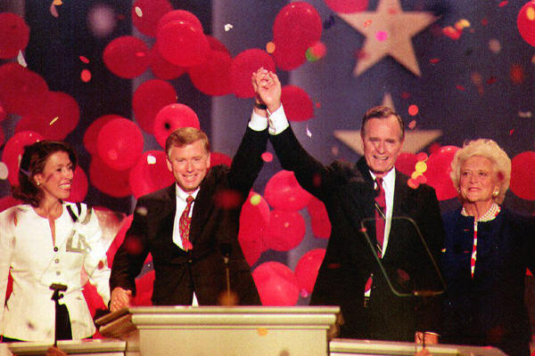 The Bushes share the stage with Vice President Dan Quayle and his wife, Marilyn, at the Republican National Convention in August 1992.
