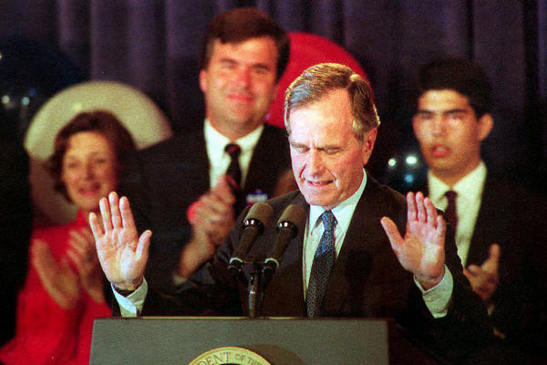 Bush concedes the presidential election to Democrat Bill Clinton in November 1992.