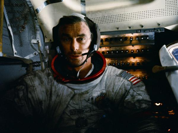 Cernan in the Apollo 17 lunar module after one of three moonwalks.