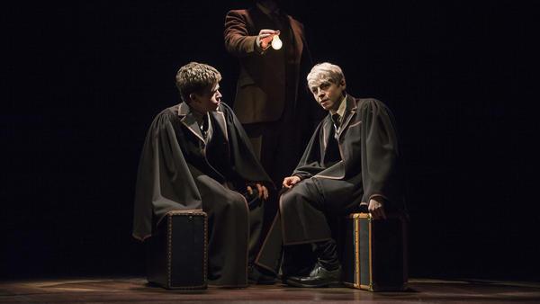 Harry's son, Albus (Sam Clemmett, left), befriends Scorpius Malfoy (Anthony Boyle) on the Hogwarts Express