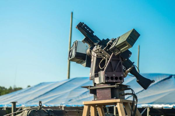 The U.S. Army's Autonomous Remote Engagement System is mounted on the Picatinny Lightweight Remote Weapon System and coupled with an M240B machine gun. It's part of a program that reduces the time to identify targets using automatic target detection and user-specified target selection.