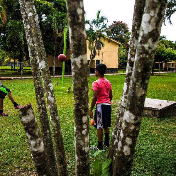 The Children's Village has several grassy areas where kids can play soccer and other sports.