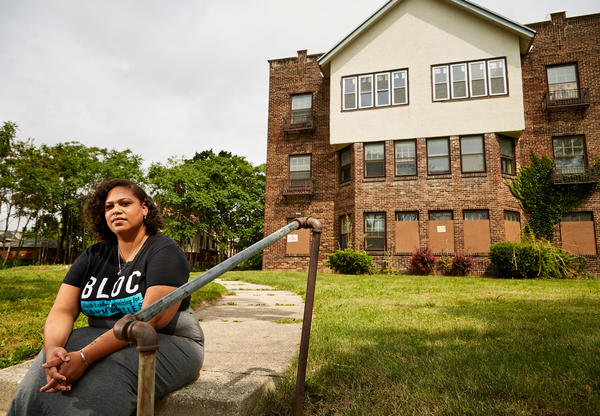 Angela Lang, executive director of BLOC, Black Leaders Organizing for Communities sits for a portrait in front of her childhood home Aug. 7, 2018 Milwaukee. BLOC, a community based group works in Milwaukee neighborhoods with a purpose of uniting and informing its citizens of current issues along with political insight to better their community.
