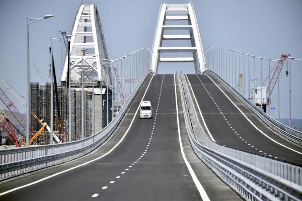 The new Crimean Bridge connects southern Russia's Krasnodar region with the Crimean Peninsula, spanning the strait between the Black Sea and the Sea of Azov.