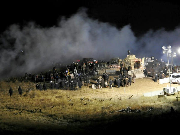 Law enforcement and protesters clash near the site of the Dakota Access pipeline in Cannon Ball, N.D., in November 2016.