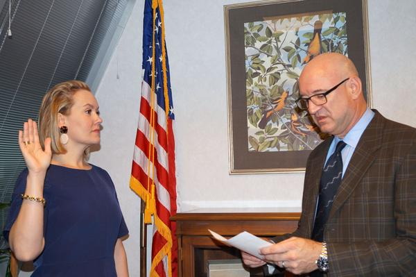 Senior EPA Advisor Kenneth Wagner swears in Regional Administrator Anne Idsal at a ceremony in December 2017.