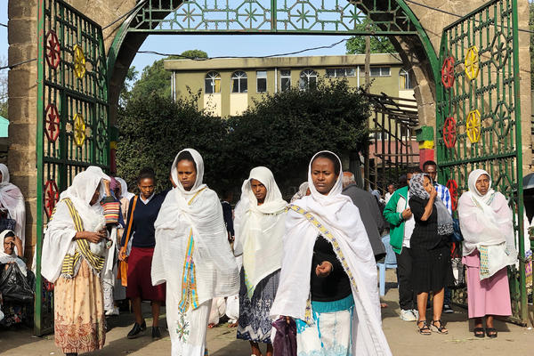 The faithful enter Ethiopia's Holy Trinity Cathedral.