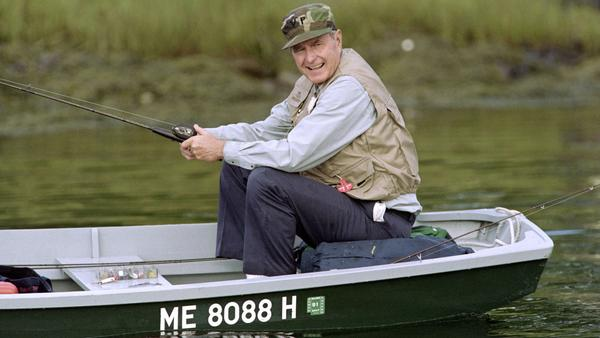 Then-President George H.W. Bush fishing on the Kennebunk River in August 1990, before a scheduled meeting with the Canadian prime minister at his Kennebunkport, Maine home.