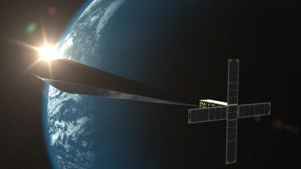 "A conceptual rendering of ""Trevor Paglen: Orbital Reflector, co-produced and presented by the Nevada Museum of Art."" The final version of the nonfunctional satellite was just launched into space."