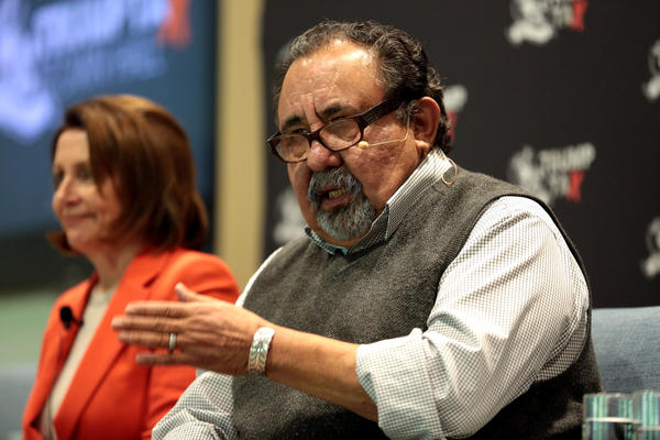 U.S. Congressman Raúl Grijalva speaking with attendees at a Trump Tax Town Hall hosted by Tax March at Events on Jackson in Phoenix, Arizona.
