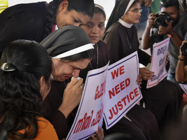 A nun cries as she participates in a protest demanding the arrest of a bishop accused of rape, in Kochi, Kerala, India in September.