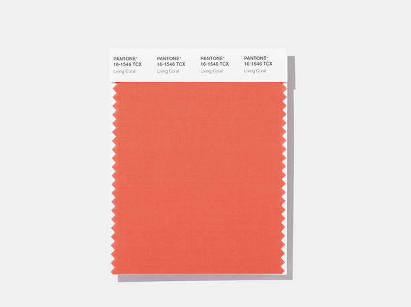 "Here's how the shade looks on a swatch released by the Pantone Color Institute, which describes living coral as ""vibrant, yet mellow."""