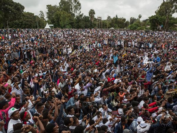 People protest against the Ethiopian government during an Oromo festival in October 2017. Anti-government protests by young Oromo men began in 2015 and helped spur political change.
