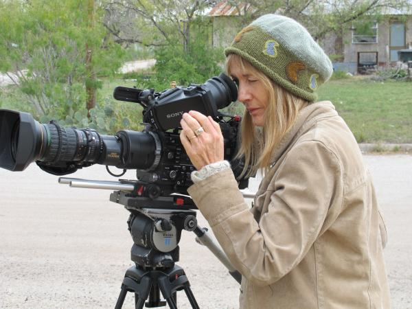 Laurie Coyle in Karnes City filming Adios Amor.