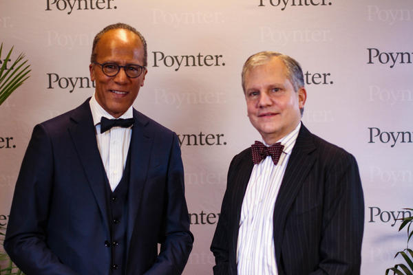 Lester Holt (left) and Arthur Sulzberger, Jr. (right) recieved awards from the Poynter Institute on Saturday for their long careers in journalism.