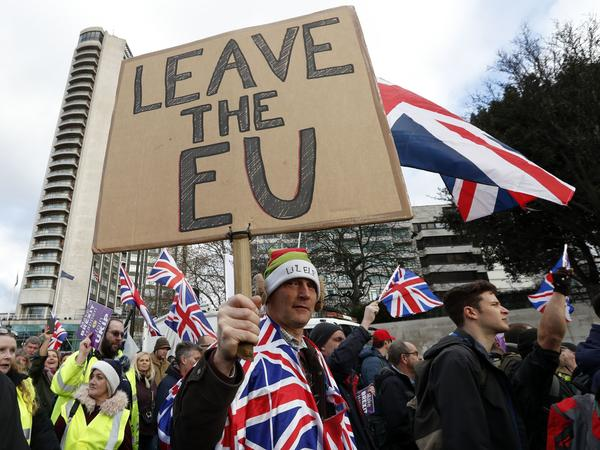 The United Kingdom Independence Party, or UKIP, held a protest Sunday in central London. Some members of Parliament have objected to the draft Brexit deal Prime Minister Theresa May has struck with the European Union, saying it does not give the U.K. enough distance from the international bloc.