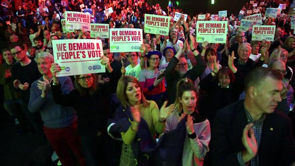 Demonstrators gather at a rally Sunday for Best for Britain and People's Vote, campaigns aimed at obtaining a second referendum on Brexit.