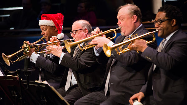 Wynton Marsalis and the Jazz at Lincoln Center Orchestra perform new arrangements of holiday classics in New York City.