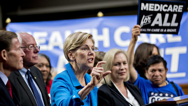 Sen. Elizabeth Warren, a Democrat from Massachusetts (center), is just one of several potential 2020 presidential candidates who came out in support of Sanders' Medicare for All proposal in 2017.