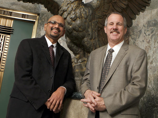 Michael Ferro named Davan Maharaj (left, seen here in 2011 with former Editor Russ Stanton) as editor-in-chief and publisher of the <em>Los Angeles Times</em>.