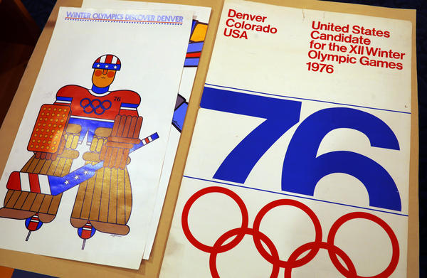 A poster used in Colorado's effort to secure an Olympic bid in 1976 is part of a collection at the Denver Public Library. The city is one of two in our region vying to host the Winter Games in 2030.