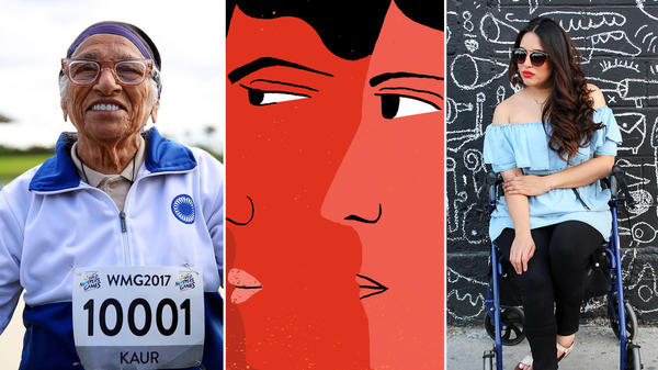"""From left: Man Kaur of India celebrates after competing in the 100-meter sprint in the 100+ age category at the World Masters Games in Auckland, New Zealand; an illustration inspired by a list of global poverty thinkers being called a """"Sausagefest""""; Maryangel Garcia Ramos, 32, a disability activist from Mexico."""