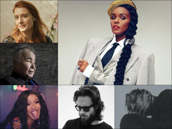 Clockwise from upper left: Florence and the Machine, Janelle Monáe, Pusha-T, Father John Misty, Cardi B and John Prine