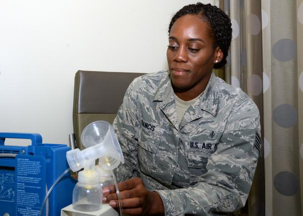 Staff Sgt. Melishia Francis prepares her breast pump in a lactation room at Lackland Air Force Base's Wilford Hall Medical Hospital.