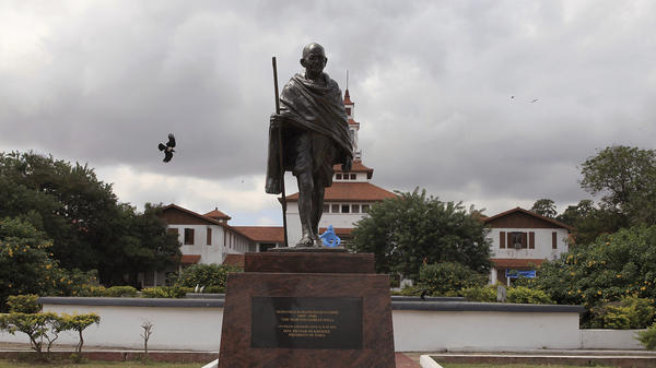 A statue of Indian independence leader Mohandas Gandhi was installed on the University of Ghana campus in Accra, Ghana, in 2016. The statue has now been removed from its plinth.