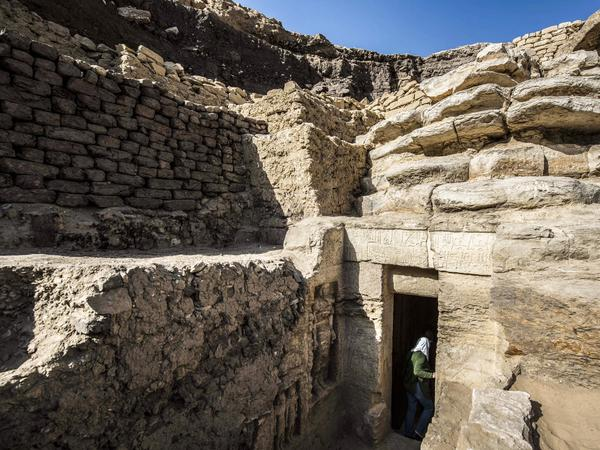 The entrance of the newly-discovered tomb, seen Saturday.