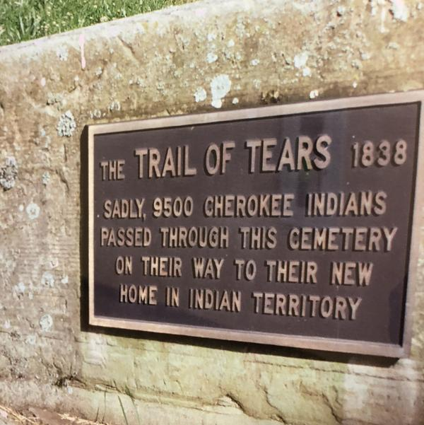 A plaque in Tahlequah, Okla., commemorates the forced relocation marches of Native Americans known as the Trail of Tears.