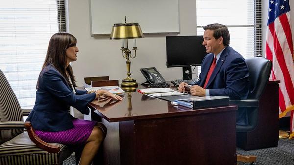 Lt. Gov.-elect Jeanette Núñez (left) and Gov.-elect Ron DeSantis (right).