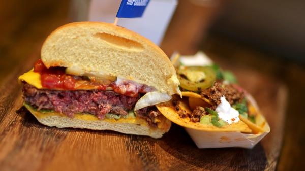 The meatless Impossible Burger is pictured at Little Donkey in Cambridge, Mass.