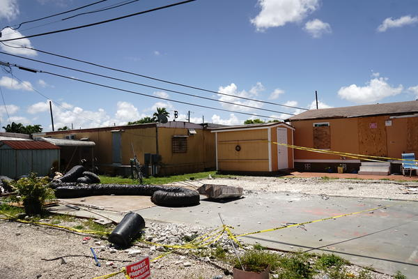 An empty lot where a trailer once stood. Many of the trailers at Sunny Gardens Mobile Home park have been left behind.