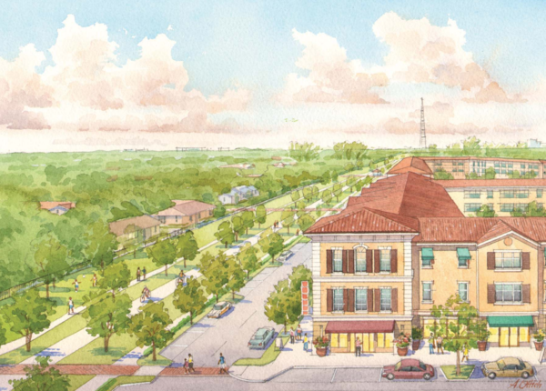 An artist sketch of a potential scenario could look like. Shows Ludlam Trail at Coral Way, looking south.